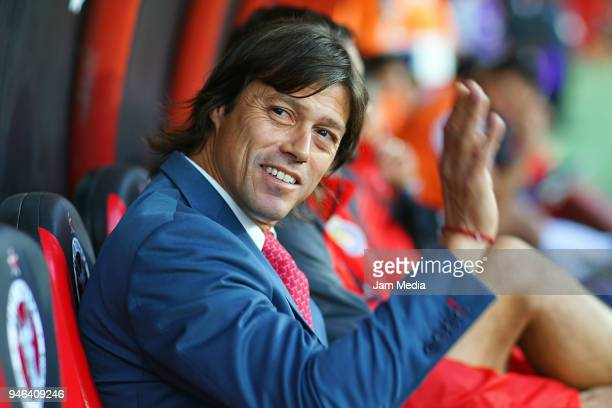 Matias Almeyda coach of Chivas greets the fans during the15th round match between Tijuana and Chivas as part of the Torneo Clausura 2018 Liga MX at...
