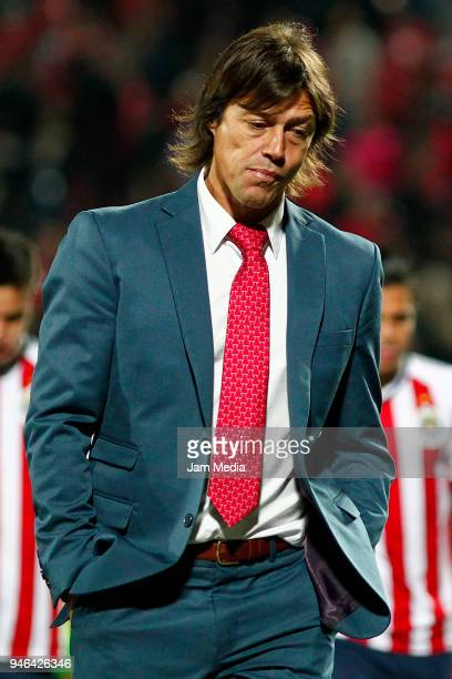 Matias Almeyda coach of Chivas leaves the field after the 15th round match between Tijuana and Chivas as part of the Torneo Clausura 2018 Liga MX at...