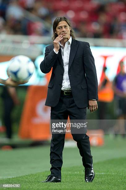 Matias Almeyda coach of Chivas looks dejected after the 17th round match between Chivas and Santos Laguna as part of the Apertura 2015 Liga MX at...