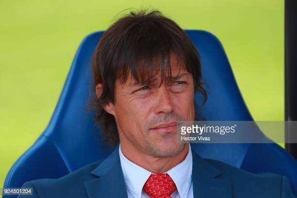 Matias Almeyda coach of Chivas looks on during the 9th round match between Pumas UNAM and Chivas as part of the Torneo Clausura 2018 Liga MX at...
