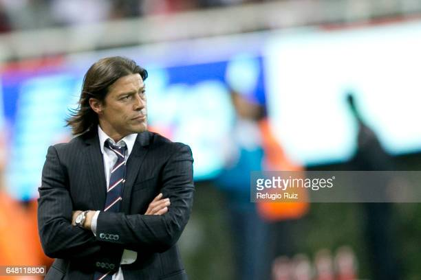 Matias Almeyda coach of Chivas looks the game during the 9th round match between Chivas and Toluca as part of the Torneo Clausura 2017 Liga MX at...