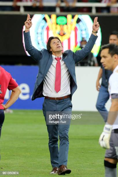 Matias Almeyda coach of Chivas reacts after winning the second leg match of the final between Chivas and Toronto FC as part of CONCACAF Champions...