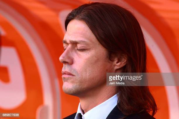 Matias Almeyda coach of Chivas reacts during the Final second leg match between Chivas and Tigres UANL as part of the Torneo Clausura 2017 Liga MX at...
