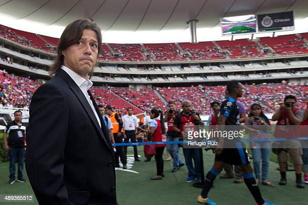 Matias Almeyda coach of Chivas walks onto the field prior to 9th round match between Chivas and Queretaro as part of the Apertura 2015 Liga MX at...