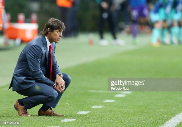 Matias Almeyda coach of Chivas watches the game during the 6th round match between Chivas and Santos Laguna as part of the Torneo Clausura 2018 Liga...