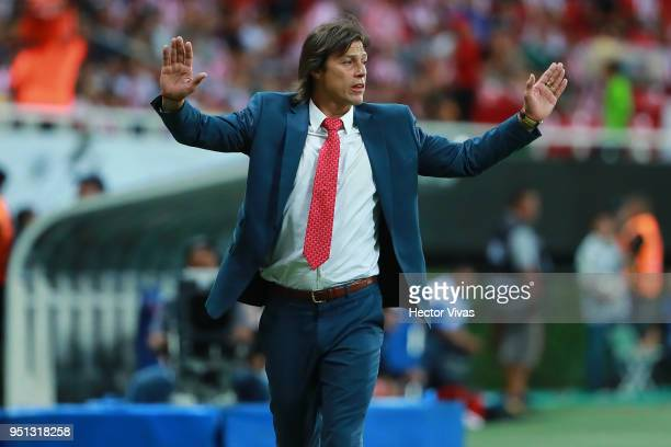 Matias Almeyda Head Coach of Chivas gestures during the second leg match of the final between Chivas and Toronto FC as part of CONCACAF Champions...