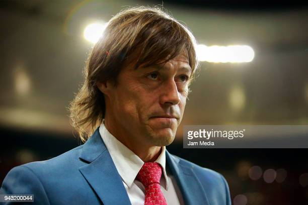 Matias Almeyda Head Coach of Chivas looks on during the 14th round match between Chivas and Veracruz as part of the Torneo Clausura 2018 Liga MX at...