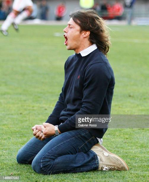 Matias Almeyda head coach of River Plate celebrates the second goal of his team during a match between River Plate and Almirante Brown as part of the...