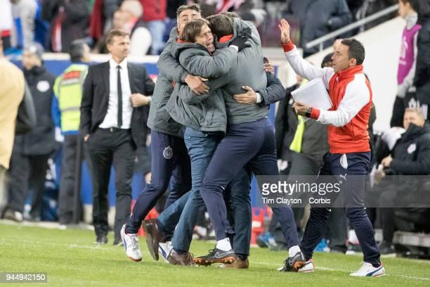Matias Almeyda Manager of CD Guadalajara celebrates his sides two leg win at the final whistle during the New York Red Bulls Vs CD Guadalajara...