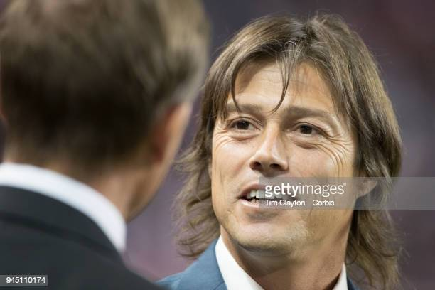 Matias Almeyda Manager of CD Guadalajara talks with Jesse Marsch head coach of the New York Red Bulls on the sideline before the New York Red Bulls...