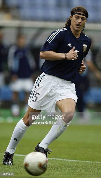 Matias Almeyda of Argentina in action during the FIFA World Cup Finals 2002 Group F match between Argentina and Sweden played at the Miyagi Stadium...