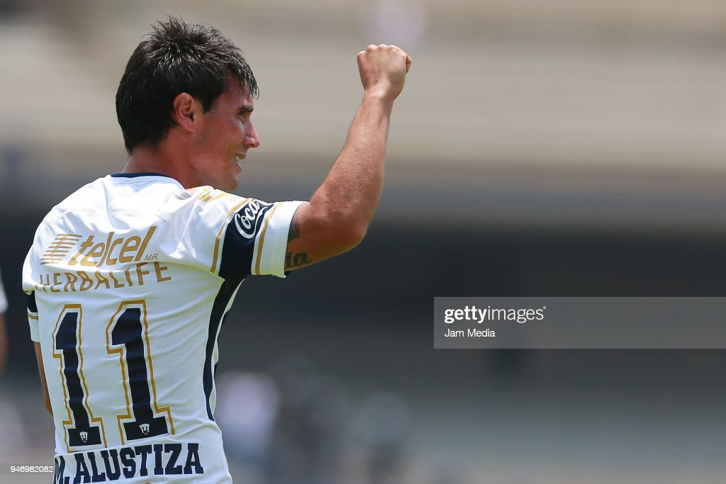 Matias Alustiza of Pumas celebrates after scoring the second goal of his team during the 15th round match between Pumas UNAM and Puebla as part of the Torneo Clausura 2018 Liga MX at Olimpico Universitario Stadium on April 15, 2018 in Mexico City, Mexico.