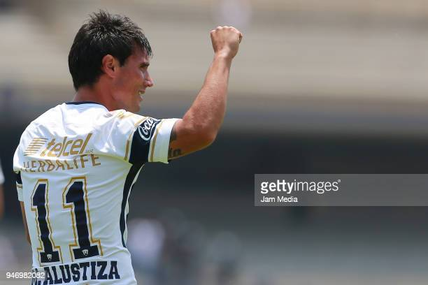 Matias Alustiza of Pumas celebrates after scoring the second goal of his team during the 15th round match between Pumas UNAM and Puebla as part of...