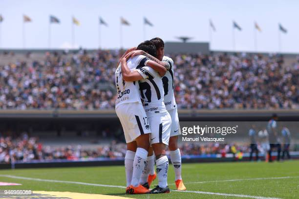Matias Alustiza of Pumas celebrates with teammates after scoring the second goal of his team during the 15th round match between Pumas UNAM and...