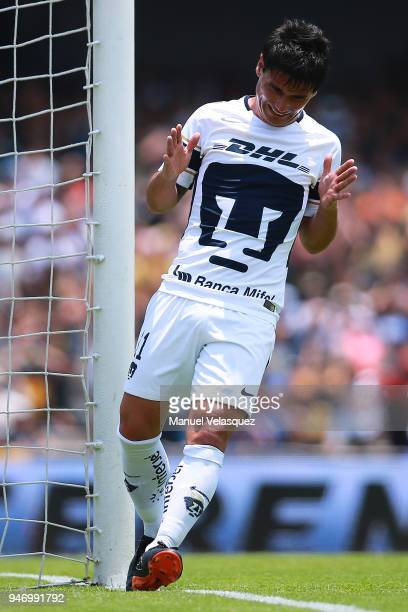 Matias Alustiza of Pumas reacts after missing a chance of goal during the 15th round match between Pumas UNAM and Puebla as part of the Torneo...