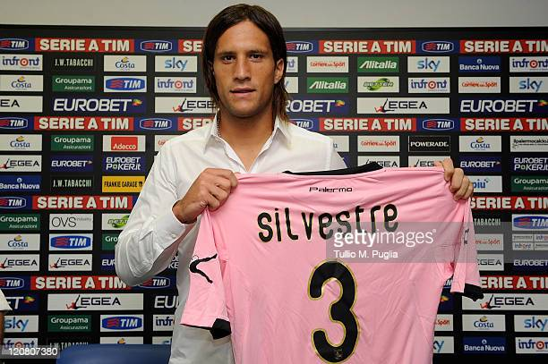 Matias Augustin Silvestre poses during his presentation as new player of Palermo at Renzo Barbera Stadium on August 11, 2011 in Palermo, Italy.