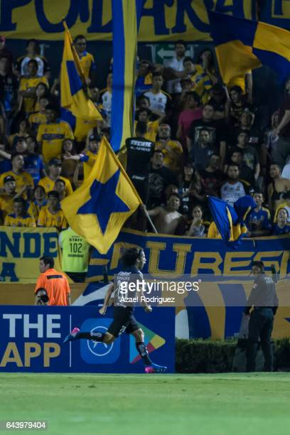 Matias Britos of Pumas celebrates after scoring his team's first goal during the quarterfinals first leg match between Tigres UANL and Pumas UNAM as...