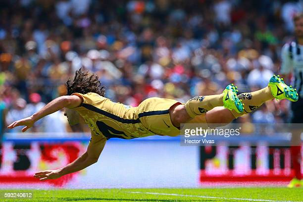 Matias Britos of Pumas celebrates after scoring the first goal of his team during the 6th round match between Pumas UNAM and Monterrey as part of the...
