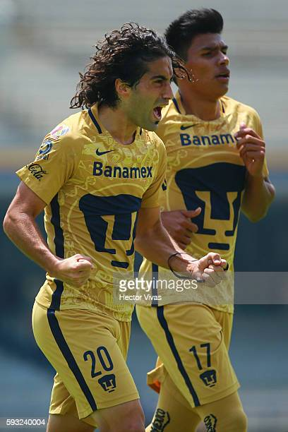 Matias Britos of Pumas celebrates with teammates after scoring the second goal of his team during the 6th round match between Pumas UNAM and...