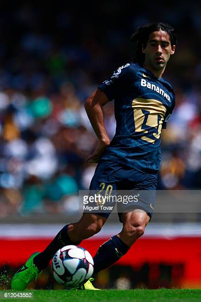 Matias Britos of Pumas drives the ball during the 12th round match between Pumas UNAM and Chiapas as part of the Torneo Apertura 2016 Liga MX at...