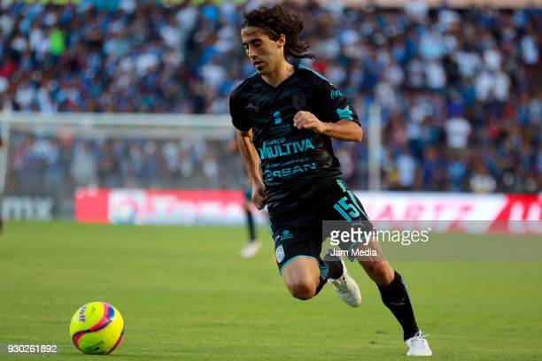 Matias Britos of Queretaro plays the ball during the 11th round match between Queretaro and Necaxa as part of the Torneo Clausura 2018 Liga MX at La...