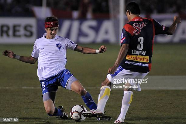 Matias Cabrera of Uruguay's Nacional in action during their match against Morelia as part of the Libertadores Cup 2010 at the Central Park Stadium on...