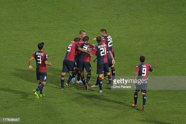 Matias Carrera of Cagliari Calcio celebrates after scoring his teams second goal with thear teams mate during the Serie A match between Cagliari...