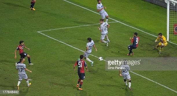 Matias Carrera of Cagliari Calcio scores his teams second goal during the Serie A match between Cagliari Calcio and Atalanta BC at Stadio Nereo Rocco...