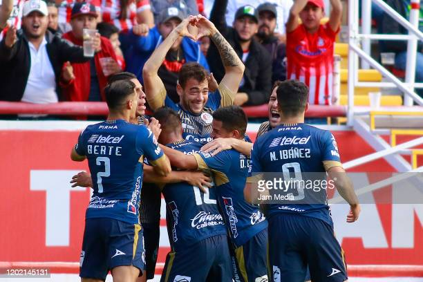 Matias Catalan of San Luis celebrates after scoring the first goal of his team during the 3rd round match between Necaxa and Atletico San Luis as...