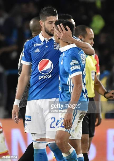 Matias De Los Santos of Millonarios celebrates after scoring the first goal of his team during the first leg match between Millonarios and Santa Fe...