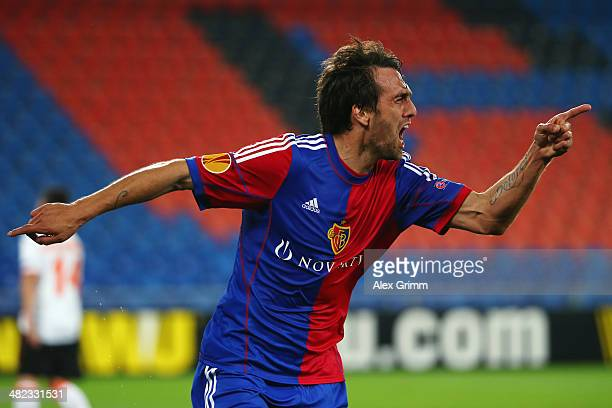 Matias Delgado of Basel celebrates his team's second goal during the UEFA Europa League Quarter Final first leg match between FC Basel 1893 and FC...