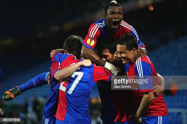 Matias Delgado of Basel celebrates his team's second goal with team mates during the UEFA Europa League Quarter Final first leg match between FC...