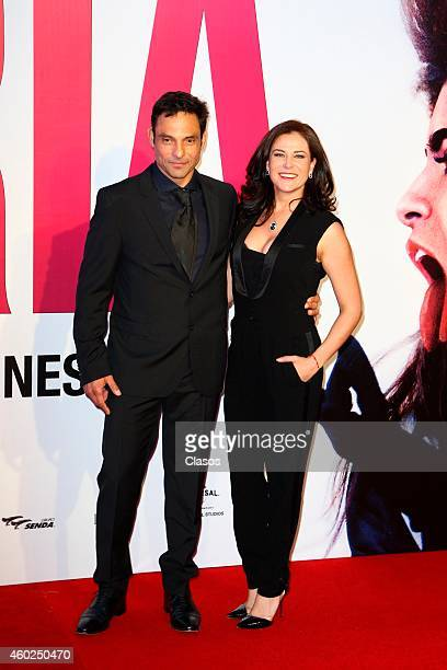 Matias Ehrenberg and Arleth Teran pose for pictures on the red carpet during the premiere of the movie Gloria at Plaza Universidad on December 09...