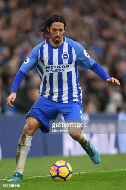 Matias Ezequiel Schelotto of Brighton Hove Albion in action during the Premier League match between Brighton and Hove Albion and AFC Bournemouth at...