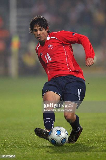Matias Fernandez of Chile runs with the ball during the international friendly match between Slovakia and Chile at the MSK Zilina stadium on November...