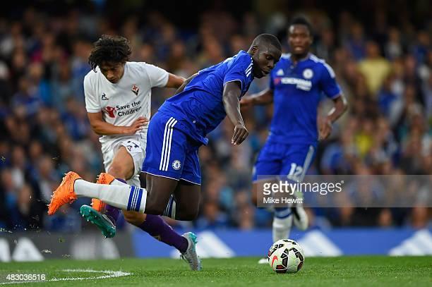 Matias Fernandez of Fiorentina fouls Kurt Zouma of Chelsea during a Pre Season Friendly between Chelsea and Fiorentina at Stamford Bridge on August 5...