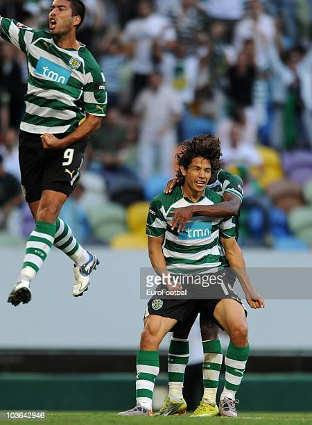 Matias Fernandez of Sporting Lisbon celebrates after scoring against Maritimo during the Portuguese Liga football match between Sporting Lisbon and...
