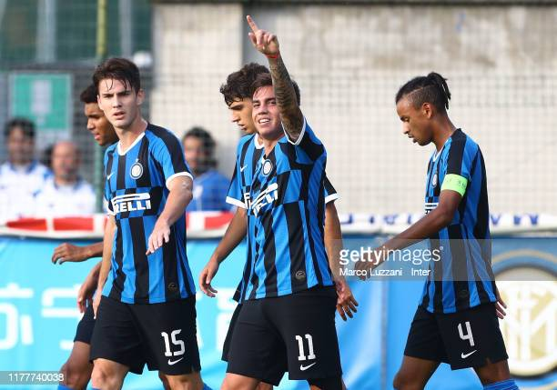 Matias Fonseca of FC Internazionale celebrates his goal with his team-mates during the UEFA Youth League group F match between FC Internazionale and...