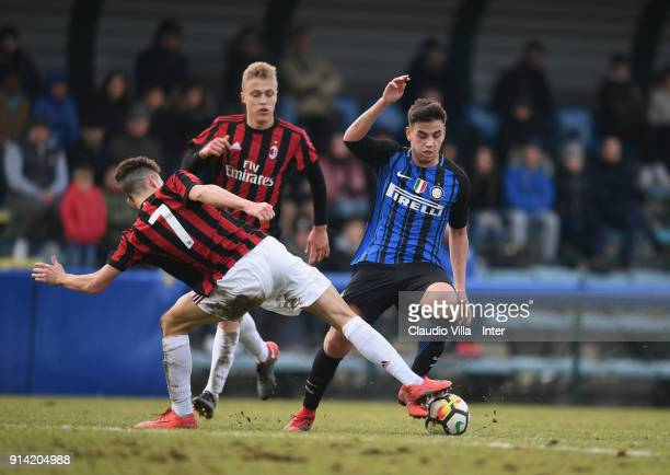 Matias Fonseca of FC Internazionale in action during the U17 match between FC Internazionale and AC Milan on February 4 2018 in Milan Italy