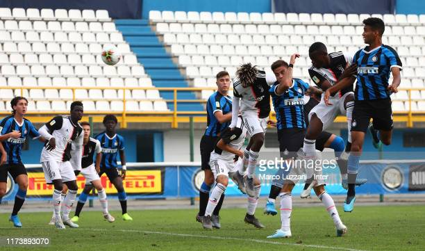 Matias Fonseca of FC Internazionale scores his goal during the Primavera match between FC Internazionale U19 and Juventus U19 at Stadio Breda on...