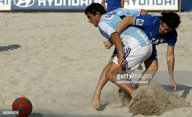 Matias Galvan of Argentina vies for the ball against Diego Maradona Jr of Italy during their match on November 16 the first day of the FIFA Beach...