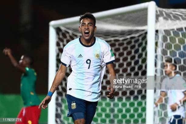 Matias Godoy of Argentina celebrates a scored goal during the FIFA U17 Men's World Cup Brazil 2019 group E match Cameroon and Argentina at Estadio...