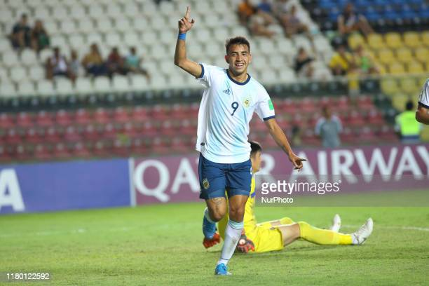 Matias Godoy of Argentina celebrates after scoring a goal during the FIFA U17 World Cup Brazil 2019 Group E match between Argentina and Tajikistan at...