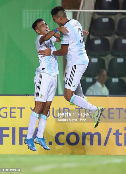 Matias Godoy of Argentina celebrates his goal with Bruno Amione of Argentina during the FIFA U17 World Cup Brazil 2019 round of 16 match between...