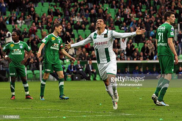 Matias Jones of Groningen celebrates scoring the first goal of the game during the Eredivisie match between FC Groningen and De Graafschap at the...