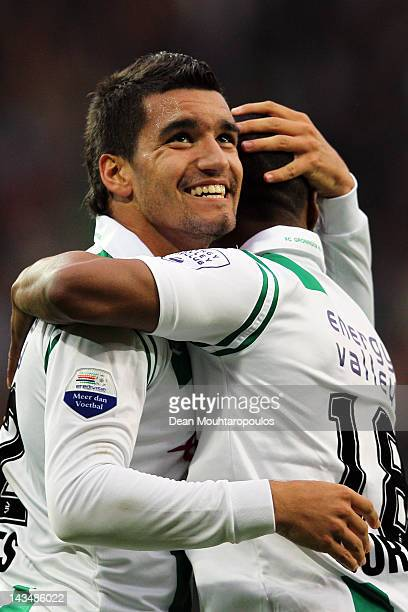 Matias Jones of Groningen celebrates scoring the first goal of the game with Lorenzo Burnet during the Eredivisie match between FC Groningen and De...