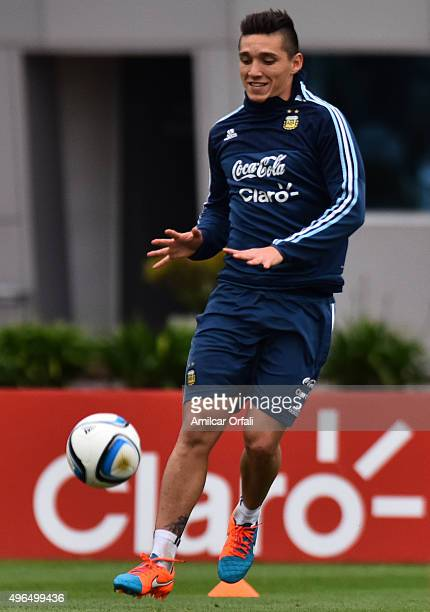 Matias Kranevitter of Argentina in action during a training session at Argentine Football Association 'Julio Humberto Grondona' training camp on...