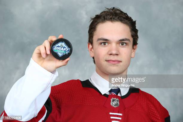 Matias Maccelli 98th overall pick of the Arizona Coyotes poses for a portrait during Rounds 27 of the 2019 NHL Draft at Rogers Arena on June 22 2019...
