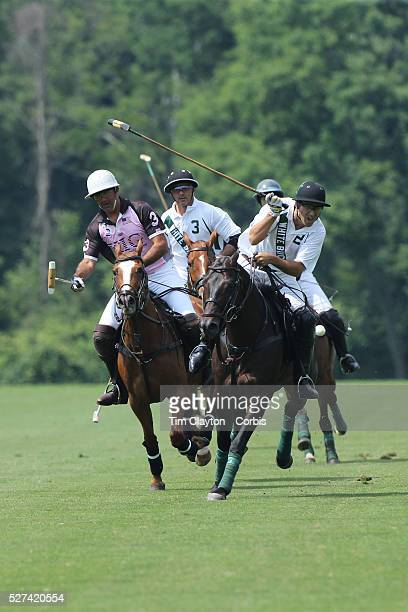 Matias Magrini KIG and Hilario Ulloa White Birch challenge for the ball during the White Birch Vs KIG Polo match in the Butler Handicap Tournament...