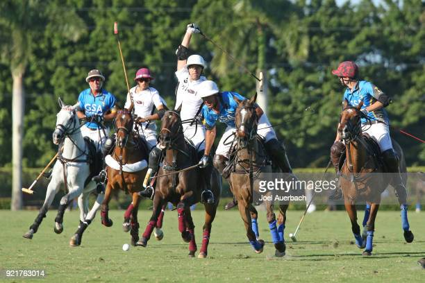 Matias Magrini of GSA leads the group up field against Pilot during the Ylvisaker Cup on February 18 2018 at the International Polo Club in West Palm...